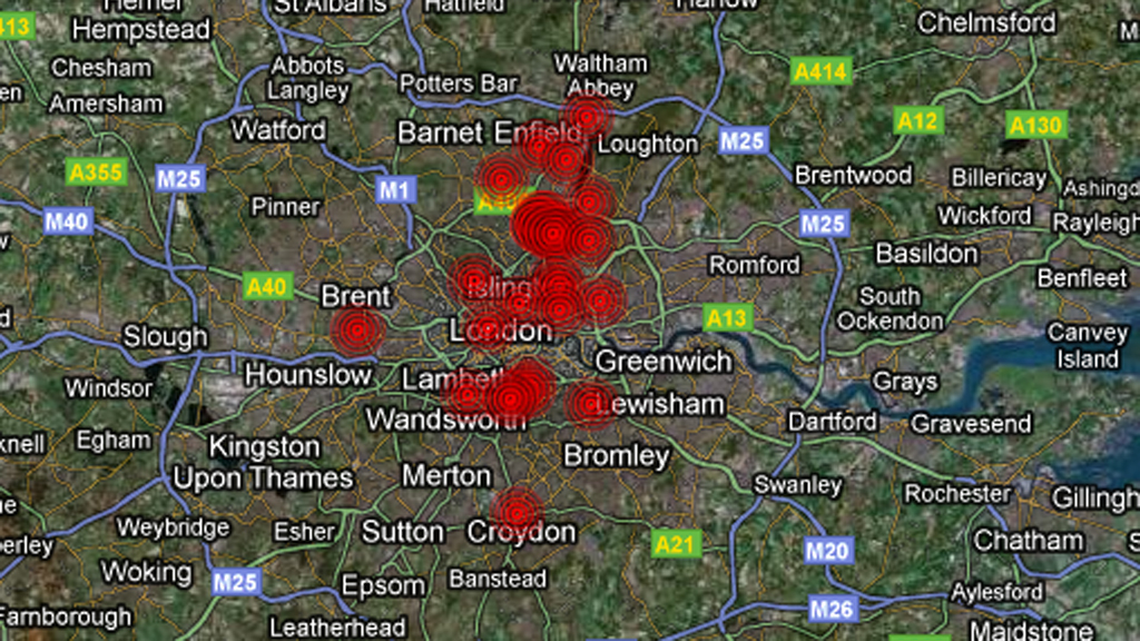 London Riots Interactive Timeline Map Channel News - Map of riots in us