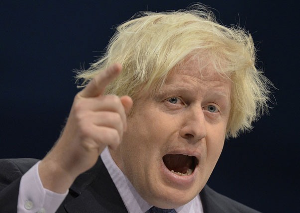 London Mayor Boris Johnson delivers his keynote speech to the Conservative Party annual conference in Manchester, northern England