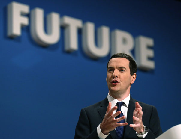 Britain's Chancellor George Osborne speaks on the second day of the Conservative Party Conference in Birmingham central England