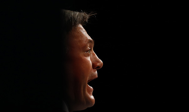 Britain's shadow chancellor Ed Balls speaks during Labour's annual conference in Manchester