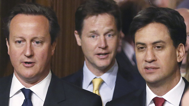 Britain's Prime Minister David Cameron and Ed Miliband, deputy Prime Minister Nick Clegg and the leader of the opposition Labour Party arrive during the State Opening of Parliament at the Palace of Westminster in London