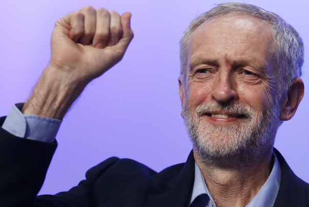 The new leader of Britain's opposition Labour Party Jeremy Corbyn gestures as he aknowledges applause after addressing the Trade Union Congress (TUC) in Brighton in southern England