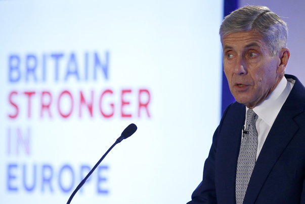 """Stuart Rose, leader of the new """"Britain Stronger in Europe"""" campaign speaks at the campaign's launch in London"""