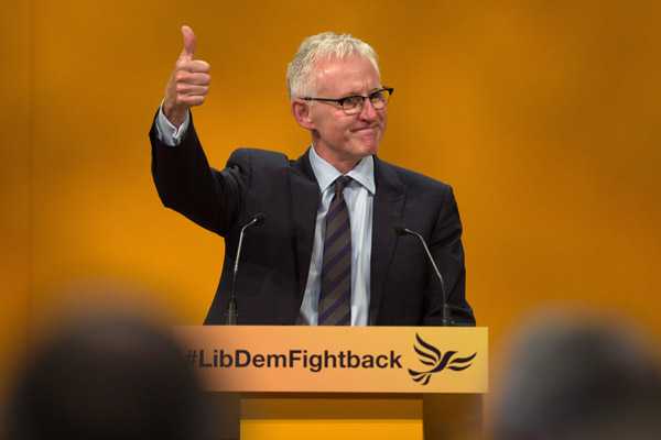BOURNEMOUTH, ENGLAND - SEPTEMBER 22: Liberal Democrat MP Norman Lamb speaks on the fourth day of the Liberal Democrats annual conference on September 22, 2015 in Bournemouth, England. The Liberal Democrats are currently holding their annual conference using the hashtag #LibDemfightback in Bournemouth. The conference is the first since the party lost all but eight of its MPs in May's UK general election, however after gaining 20,000 new members since May the party is expecting a record attendance at the event being held at the Bournemouth International Centre. (Photo by Matt Cardy/Getty Images)