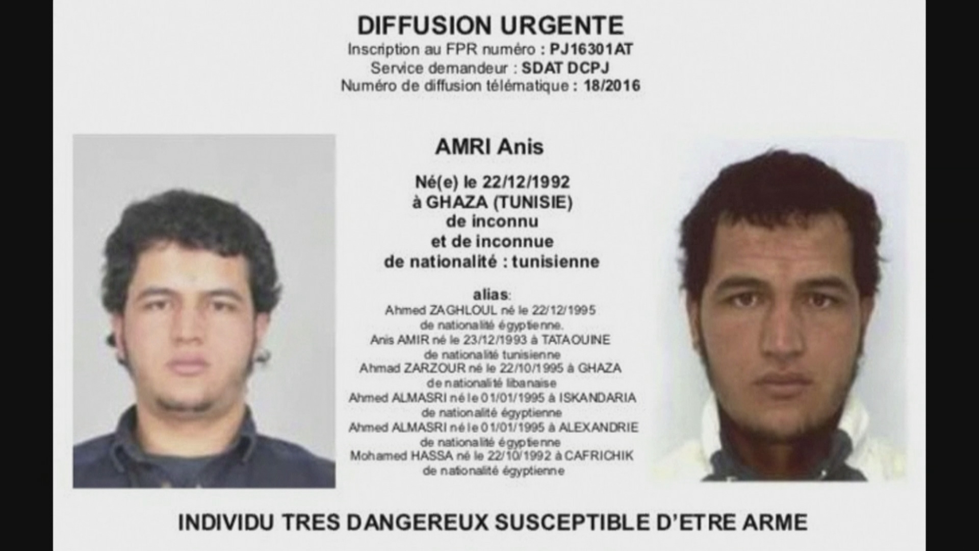 Police warrant for Anis Amri