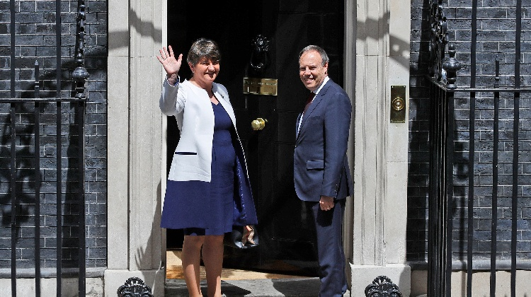 Leader of Northern Ireland's Democratic Unionist Party (DUP) Arlene Foster and Deputy Leader Nigel Dodds arrive at 10 Downing Street in London, for a meeting with Britain's Prime Minister Theresa May, Tuesday June 13, 2017.
